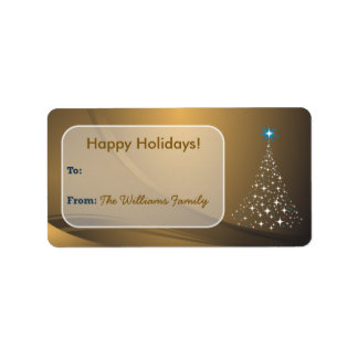 Christmas Tree Sparkle Holiday Gift Tag (gold) Custom Address Labels