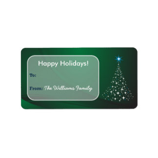 Christmas Tree Sparkle Holiday Gift Tag (green) Address Label