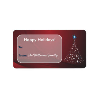 Christmas Tree Sparkle Holiday Gift Tag (red) Personalized Address Labels