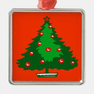 christmas tree square metal christmas ornament