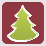 Christmas tree square stickers
