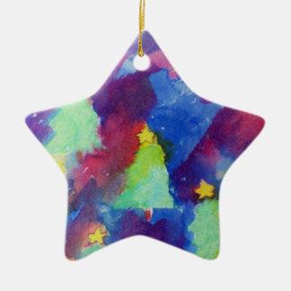 CHRISTMAS TREE Star Ceramic Ornament