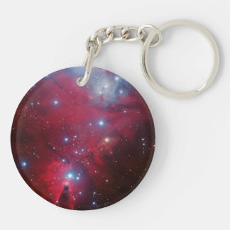 Christmas Tree Star Cluster Round Acrylic Key Chain