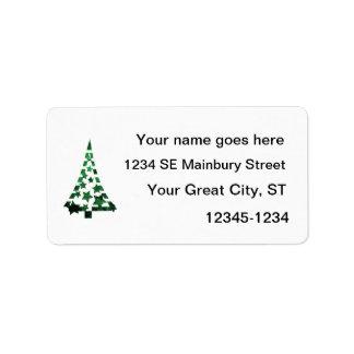 Christmas Tree stars n dashes mottled green Custom Address Label