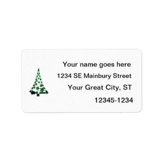 Christmas Tree stars n dashes mottled green.png Address Label