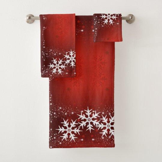 71424ed51ec26 Christmas Tree Stars Snowflake Red Bath Towel Set | Zazzle.com