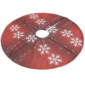 Christmas Tree Stars Snowflakes Red Tree Skirt