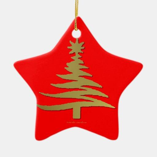 Christmas Tree Stencil Gold Ornaments