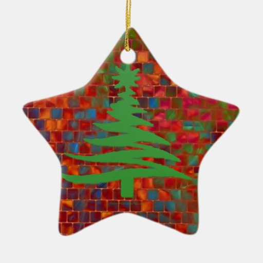 Christmas Tree Stencil Green Ornament