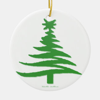 Christmas Tree Stencil Green Double-Sided Ceramic Round Christmas Ornament