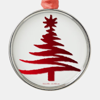 Christmas Tree Stencil Red Round Metal Christmas Ornament