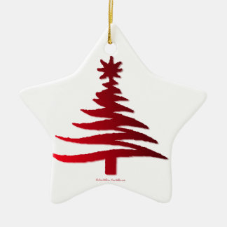 Christmas Tree Stencil Red Double-Sided Star Ceramic Christmas Ornament