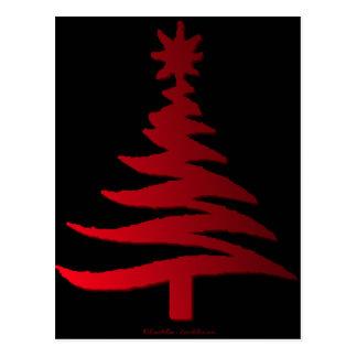 Christmas Tree Stencil Red Postcard