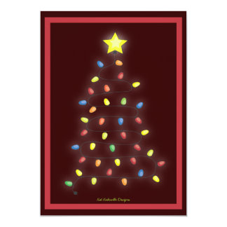 Christmas Tree String of Lights Holiday Party 5x7 Paper Invitation Card