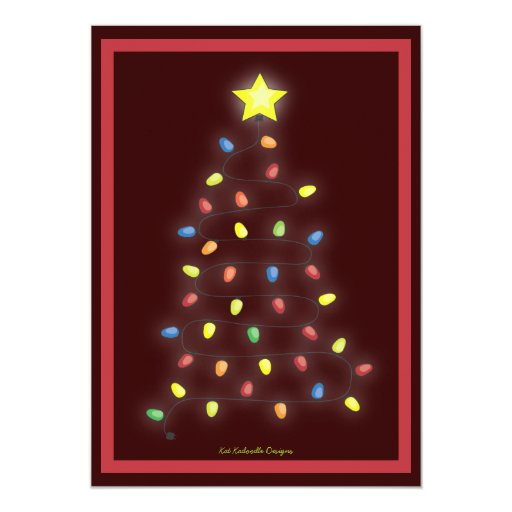 Zazzle String Lights : Christmas Tree String of Lights Holiday Party Card Zazzle