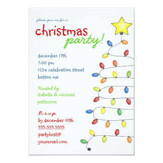Christmas Tree String of Lights Holiday Party Invitations
