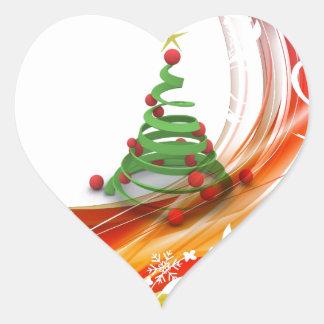 Christmas Tree Swirl Heart Sticker