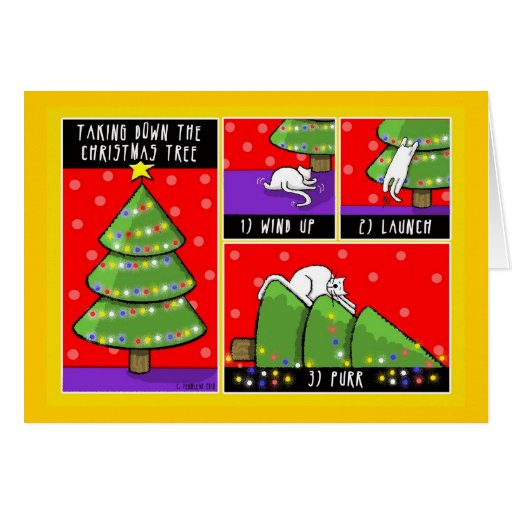 christmas tree take down cat greeting cards zazzle. Black Bedroom Furniture Sets. Home Design Ideas