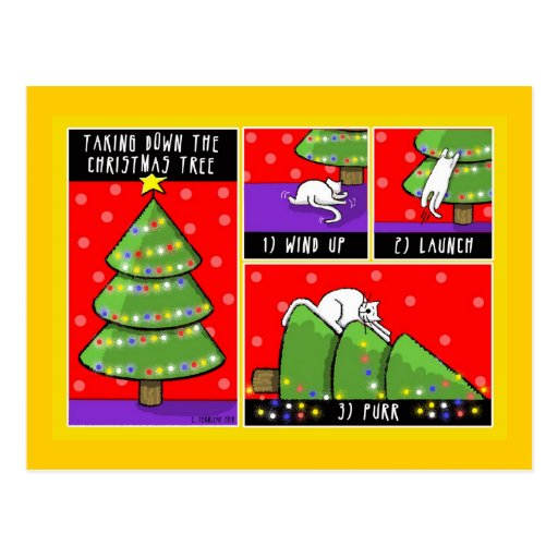 christmas tree take down cat post cards zazzle. Black Bedroom Furniture Sets. Home Design Ideas