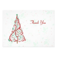 Christmas Tree Thank You Card Personalized Announcements