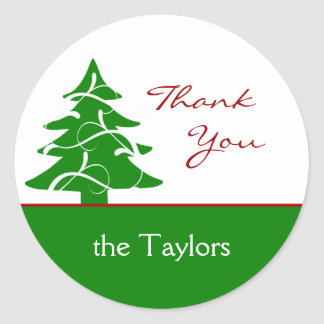 Christmas Tree Thank You Gift Tags Stickers