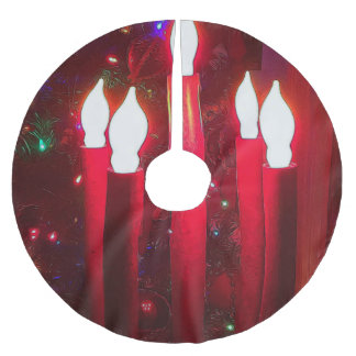 Christmas Tree Through Candleabra Brushed Polyester Tree Skirt