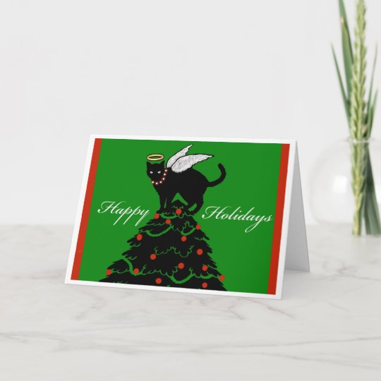 Cat Angel Christmas Tree Topper: Christmas Tree Topper Cat Angel Greeting Card