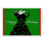 Christmas Tree Topper Cat Angel Greeting Card