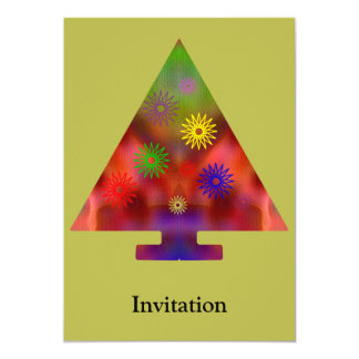 Christmas Tree - Triangle decorated 5x7 Paper Invitation Card
