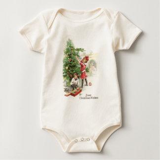 Christmas tree trimming baby bodysuit