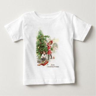 Christmas tree trimming infant t-shirt