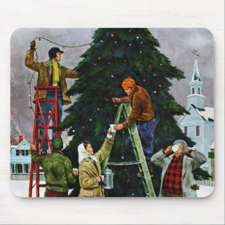 Christmas Tree Trimming Mouse Pad