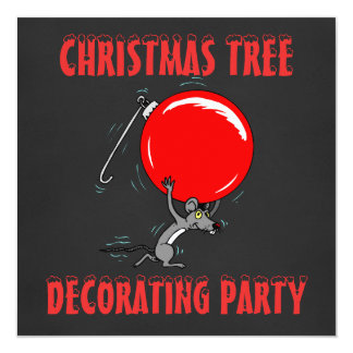 Christmas Tree Trimming Party | Chalkboard Mouse Card