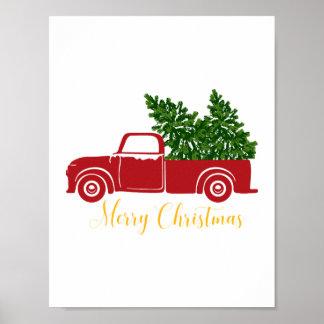Christmas tree truck  print
