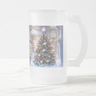 Christmas Tree Vintage Frosted Glass Beer Mug