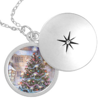 Christmas Tree Vintage Locket Necklace