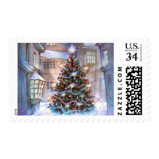 Christmas Tree Vintage Postage at Zazzle