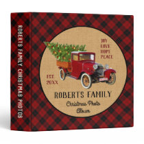 Christmas Tree Vintage Red Truck Plaid Photo Album 3 Ring Binder