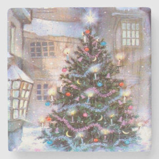 Christmas Tree Vintage Stone Coaster