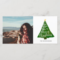 Christmas Tree Watercolor Typography Script Holiday Card