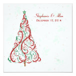 "Christmas Tree Wedding Invitation 5.25"" Square Invitation Card"
