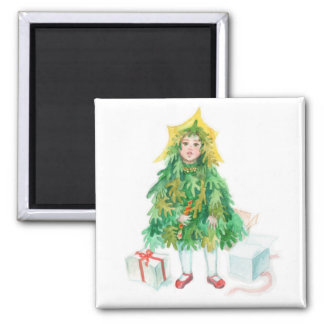 Christmas tree winter holidays cute little girl magnet