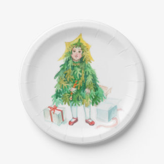 Christmas tree winter holidays cute little girl paper plate