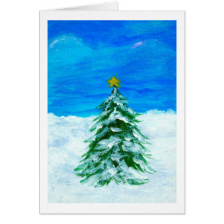 Christmas Tree Winter Landscape Art Snow Stationery Note Card