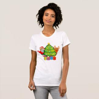 Christmas tree with a black Santa Claus & Rudolph, T-Shirt