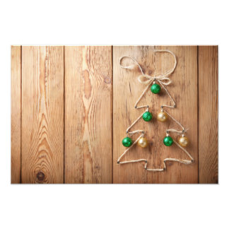 Christmas Tree With Balls On Wooden Background Photo Print