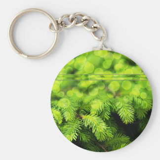 Christmas Tree With Blurred Circles Basic Round Button Keychain