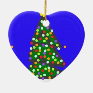 Christmas tree with bulb dots on blue XMAS13 Ceramic Ornament