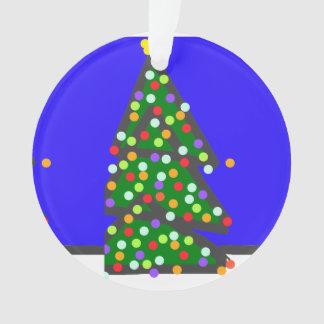 Christmas tree with bulb dots on blue XMAS13 Ornament