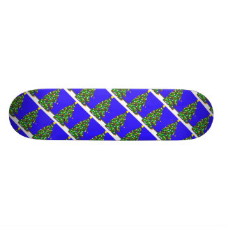 Christmas tree with bulb dots on blue. XMAS13 Skateboard Deck